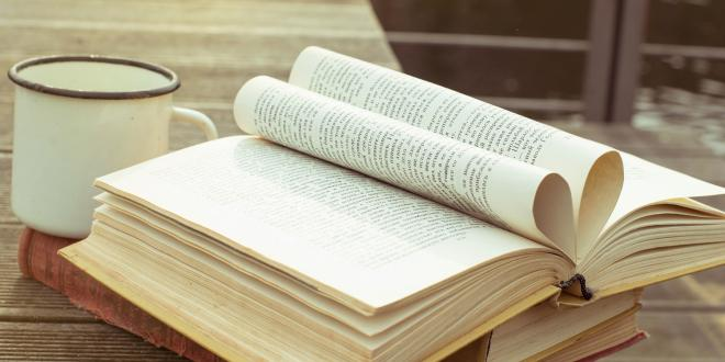 An open book on a table